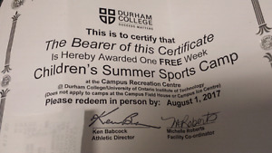 Summer sports camp Durham college free to a needy family