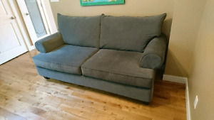 Grey Microfiber Couch in Excellent Condition