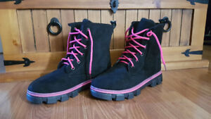 Pink and Black Winter Boots