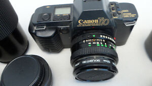 Canon T70 35 mm Camera and 3 lenses Takes film $120 . Prince George British Columbia image 1