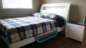 Double size bed, memory foam mattress & nightstand - solid wood