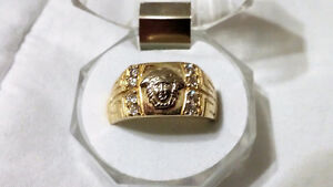 Bague homme or jaune VERSACE 10K mens gold diamond ring