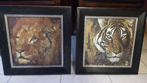 Pair of Lion and Tiger Prints on Canvas!