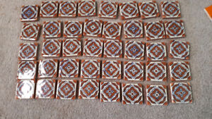 40 small new Mexican decorated glazed tile
