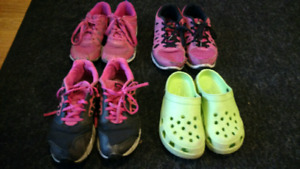 Girl's size 3 & 4 Nike running shoes and size 2 crocs
