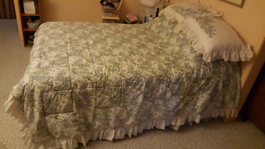 Queen bed and bedding