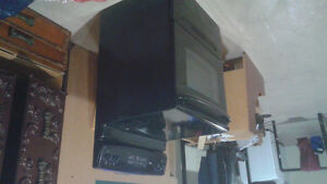 Black stove with oven with glass top