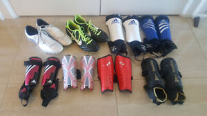 Soccer Cleats, Shin Pads, Gym Bags