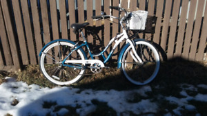 Upright bike. White wall tires. 6 speed shimano