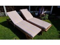 2x solid wood sun loungers-provisionally sold