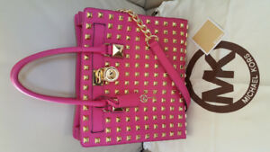 Authentic Michael Kors Large Studded Saffiano Hamilton Tote pink