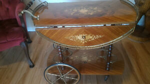 Italian Designed Serving Cart With Drop Leafs