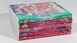 Five Barbie DVD Collection DVDs in Great Shape Previously Owned