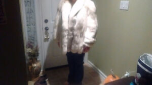 Christian Dior white fox fur coat