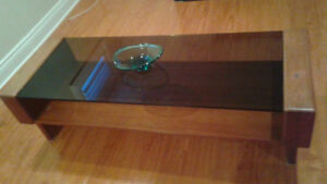 Solid teak coffee table with glass