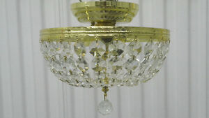 Five (5) 3-Light Crystal-Basket Semi-Flush Fixtures – LIKE NEW!