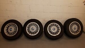 "BMW e30 BBS basketweave 14"" 4x100 fits honda VW winter tires"