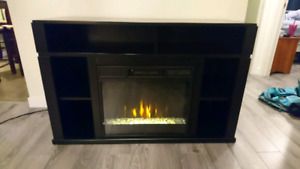Tv stand with tv mount and crushed glass fireplace