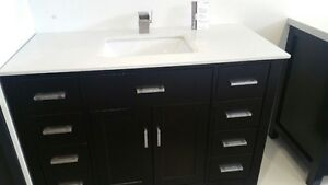 Vanity with Glass top and Faucet