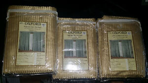 Three Oxford 96in Window Curtains Gold pipe