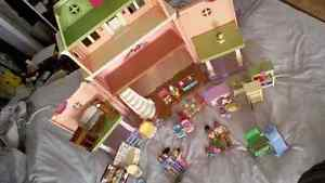 Fisher price loving family doll house and lot of accessories