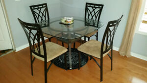 "Glass Table 5-piece Dining Set ""AS IS"""