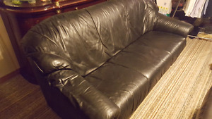 Black Leather Love Seat + 3 Seater Sofa