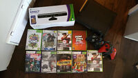 Xbox 360 with two controllers, Kenect and games