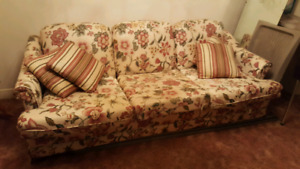Living room set : couch, love seat and Queen Anne chair