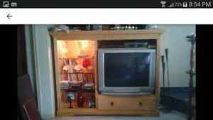 Big Stereo TV AND the solid wood entertainment center! West Island Greater Montréal image 1