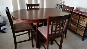 Solid Wood Dining Table and 4 Matching Chairs - Bar Height