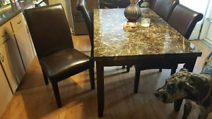 Faux marble table with 4 chairs
