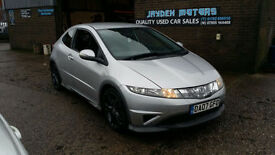 2007 HONDA CIVIC 2.2i-CTDi TYPE S,3 DOOR TURBO DIESEL,NEW MOT ON PURCHASE,