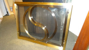 Fireplace Door & Screen - Contemporary, 3-Tone Brass, 37(w) x 26