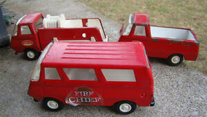 Three Vintage Tiny Tonka Red Pressed Steel toys