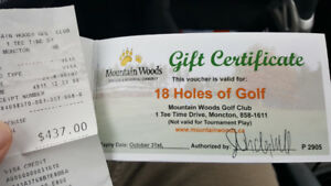 Green Fee certificates, Mountain Woods Golf Course, Moncton