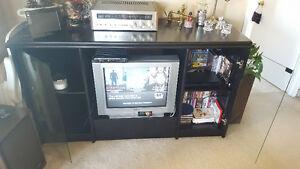 Tv stand glass display meuble téléviseur bois solide