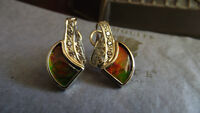AMMOLITE 14 KT GOLD Earrings with14 DIAMONDS Canadian Jewellery