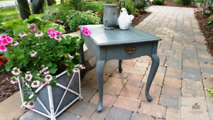 Painted Grey Blue French Provincial End Night Table