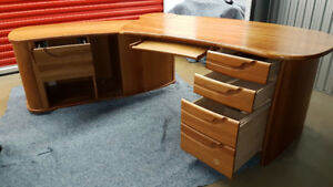 SOLID CHERRY WOOD MODERN DANISH TWO PIECE DESK W/ TAMBOUR DOORS