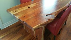 Live edge log dining table and 6 chairs