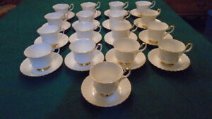 Household White and Gold Royal Albert Cup & Saucers - $180