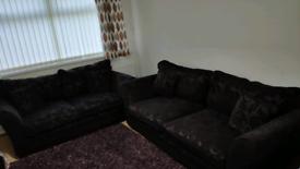 Bronte Sofa 3+2.5 Seater, Fabric Colour-Plum Good Condition