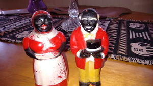Aunt Jemima & Uncle Mose plastic salt & pepper shakers - vintage