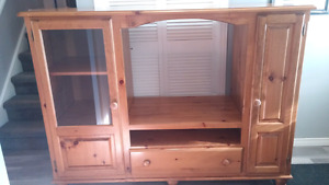 Solid pine wall unit entertainment stand