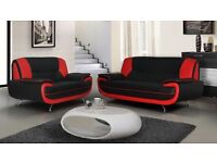 **FREE DELIVERY** BRAND NEW CAROL 3+2 LEATHER SEATER SOFA SUITE IN BLACK, RED, BROWN CORNER SETTEE