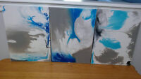 3 Modern Original Abstract Acrylic Paintings