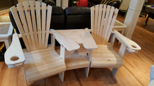 Adirondak chairs with attached table