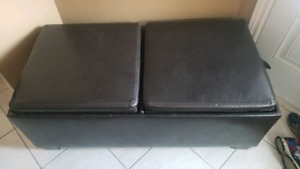 Brick Leather Ottoman with storage and wooden trays