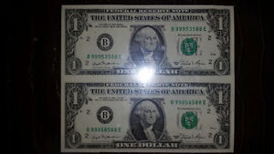 1 UNCUT SHEET OF 2 AMERICAN 1$ BILLS IN MINT CONDITION ONLY 25$. London Ontario image 1